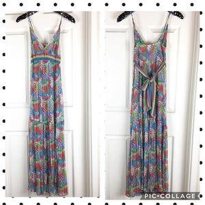 Trina Turk floral print silk tier maxi tank dress